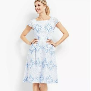 NWT RSVP Talbot White Blue Lace Dress Fit & Flare